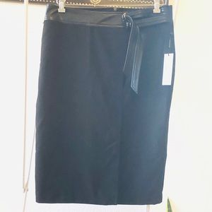 Calvin Klein Pencil Skirt with Leather Accents
